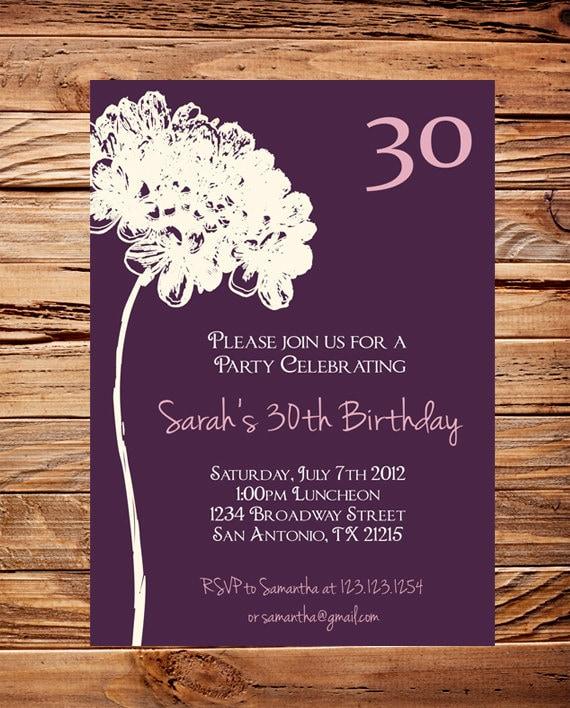30th Birthday Invite 40th 50th Birthday Adult Flower
