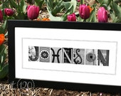 Personalized Christmas, Wedding or Bridal Shower Gift Idea, Alphabet Letters Art Photography - Framed 10 x 20