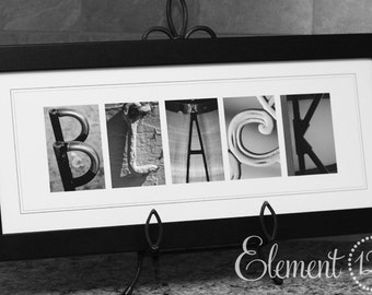 Wedding Gift Alphabet Letter Art Photography - Framed - Personalized with your Last Name - 8x20 Name Frame, Perfect Custom Christmas Gift