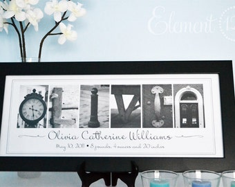 Alphabet Photography Birth Announcement - Personalized Name Frame, Baby Gift