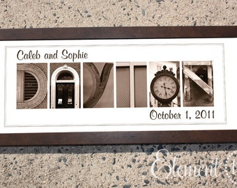 Alphabet Photography Framed, Personalized Bridal Gift - Sepia 10x26 Modern - Ideal Size for Adding Names and Dates