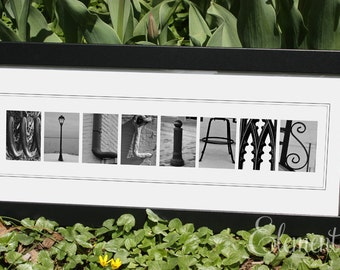 Alphabet Letter Photography - Framed - Personalized with your Surname - 8x20 Name Frame