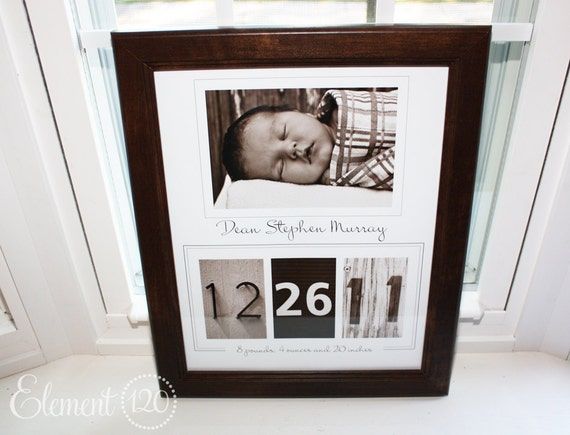 Birth Announcement Alphabet Photography Number Frame: Sepia - Personalized with YOUR photo