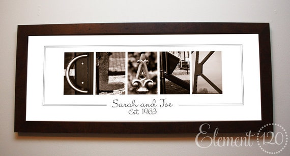 Personalized Surname Letter Art, Wedding Gift Alphabet Photography : Sepia 10x26 Frame