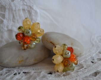 Vintage Cluster Clip on Earrings with West. Germany Marking 1950