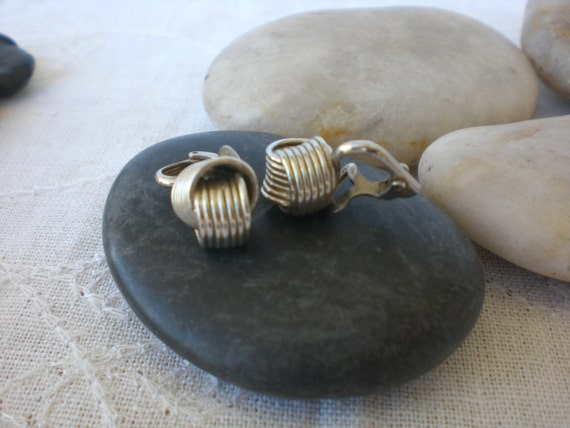 Vintage 1960's Silver Knotted Clip On Earrings