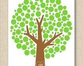 Custom Initials Tree Print // Valentines Day Engagement Anniversary Gift // 8x10 Personalized Print // PO Green Brown Choose Your Colors
