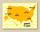 Personalized Road Trip Map Print // USA Chevron // Valentines Day Engagement Love Gift // 8x10 Inch LA Yellow White Choose Your Colors