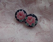 Navy Blue Roses Fabric Button Earrings