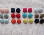 Any 3 Pairs of Solid Colours Gumdrops Fabric Button Earrings