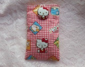 Hello Kitty Iphone Phone Camera Ipod Sleeve with Kitty Fabric Button Closure