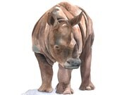 Rhinoceros PAINTING -   Print of watercolor painting A4