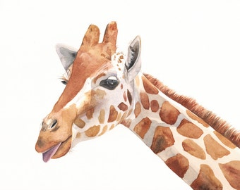 Giraffe Painting -G039- animal wildlife nature art-  print of watercolor painting -5 by 7 print - wall art print - watercolor print