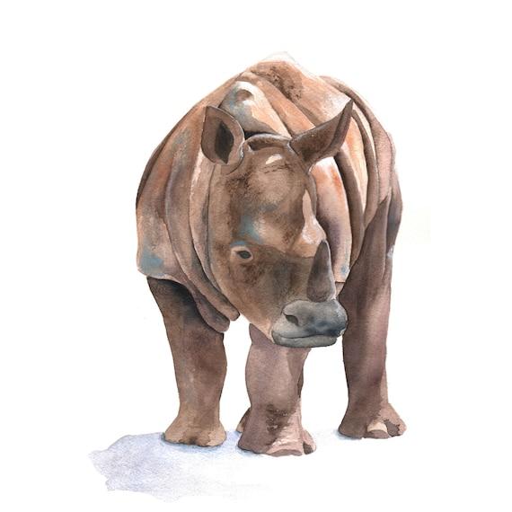 Rhinoceros PAINTING -   Print of watercolor painting 5 by 7