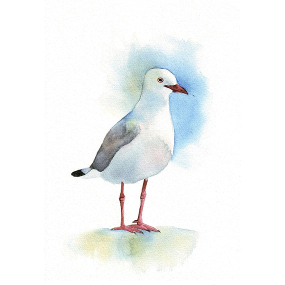 Seagull Painting  -  ORIGINAL watercolor painting