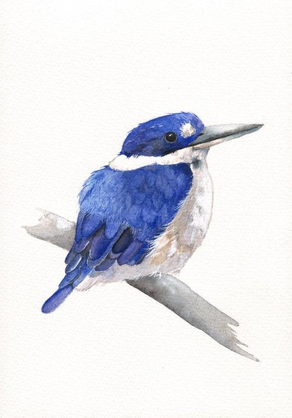 Kingfisher Painting -K038-  Original watercolor painting