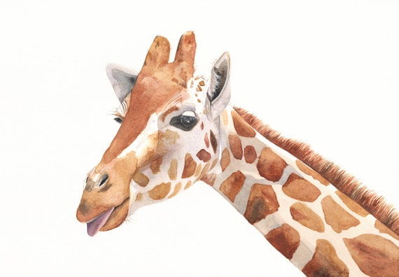 Giraffe Painting -G039- animal wildlife nature art-  print of watercolor painting -5 by 7 print - wall art print - watercolor print