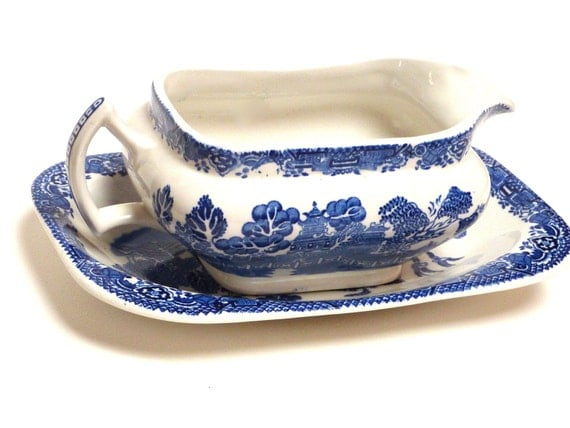 RESERVED For   KATE    Vintage English Woodsware Willow Pattern Large Gravy Boat And Plate