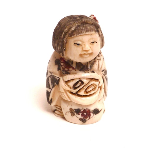 RESERVED For Our New Clients    ACP  Please dont buy if this isnt you  :) Ta Vintage Carved Ox bone Netsuke Figurine