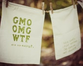 Reusable Produce Bag Hand Printed With Drawstring 12x16 - GMO OMG WTF are we eating