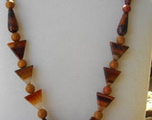 Handcrafted Red Tigereye and Red Agate Pendant Necklace