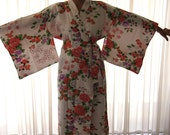 Vintage WHITE Floral Satin Kimono (Made in Japan in the 80s, 2 Available, Free Postage)