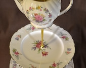3 Tier Cake Stand Sadler Floral Teapot for Weddings, Display, Tea Parties, FREE shipping