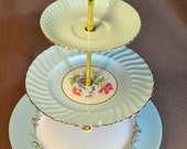 Cake Stand 3 or 2 tier Baby Blue for Weddings, Baby Shower, Jewelry Display, Tea Parties, FREE shipping