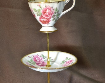 Roses and Roses Vintage China Jewelry Tidbit Tray Stand FREE Shipping