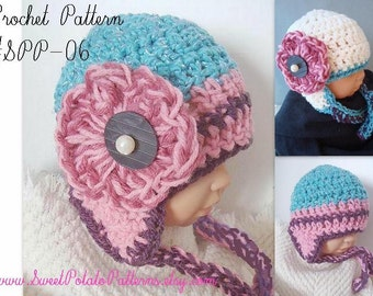 Instant Download PDF CROCHET Pattern Earflap Hat with Flower  SPP-06. sizes newborn to age 5