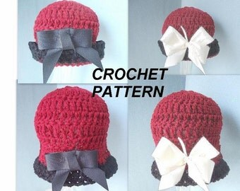 Instant Download PDF Crochet Pattern - Cloche Hat  or Rolled Brim Hat - SPP-15  All sizes from newborn to adult.