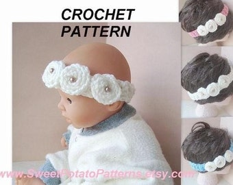 Instant Download PDF Crochet Pattern  - Rosette Headband - SPP-24- make it any size, newborn to adult.