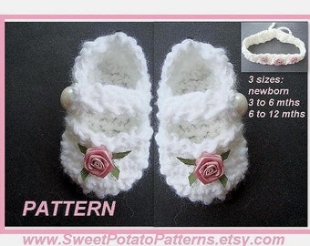 Crochet Pattern - Sweet Mary Jane Booties and Headband SPP-30 Instant Download PDF 3 sizes for you to make.