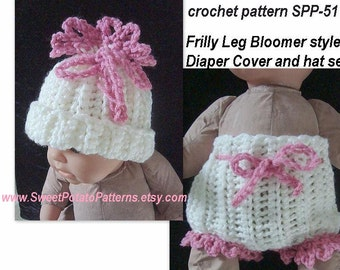 instant Download PDF Crochet Pattern - Frilly Leg Bloomer-style Diaper Cover SPP-51, and hat set, newborn to 12 months