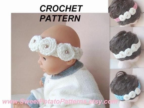 Crochet Pattern Software Free Download : Instant Download PDF Crochet Pattern Rosette Headband