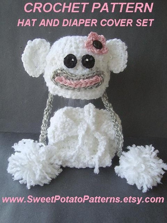 Crochet Hat Pattern and Diaper Cover Pattern Set - Baby Snow Monkey Set SPP-38 - 4 sizes: preemie to 1 year. Instant Download PDF