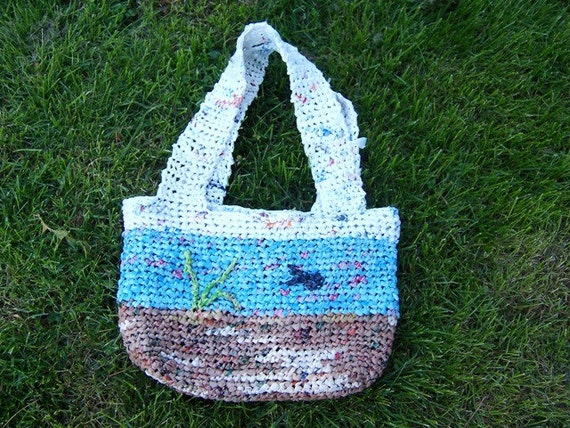 Crochet Plarn Purse (Ocean Theme) - Repurposed Plastic - Flat handles - Lined