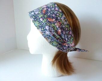 Strawberry Thief headband, Womens headband, Liberty of London, Fabric headband, Cancer headband, Navy blue, Floral, Woodland theme