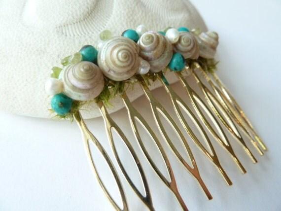 Seashell and Gemstone Hair Comb, Beach wedding, Mermaid, Woodland, Hair comb, Something blue