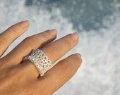 Fairmined premium silver,Fairmined ring silver,Ethical Jewellery, White silver, Anti allergic silver, Foam design,Aquatic ring,Marine Textur