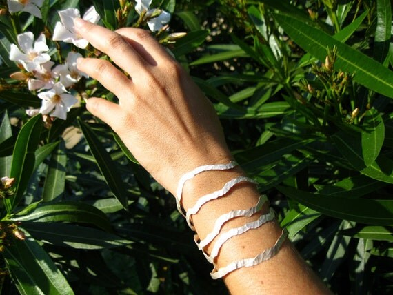 Unique Bracelet in Certified Fairmined Silver.Sterling Silver Jewelry.Cuff Silver Bracelet.Hammered Bracelet.Ethical SilverMade in Barcelona