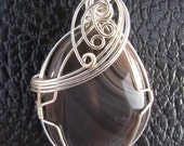 Wire Wrapped grey/brown Pendant Necklacklace 049