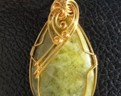 Olive Green Wire Wrapped Pendant Necklace 077