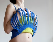 Striped blue and yellow crochet tank top