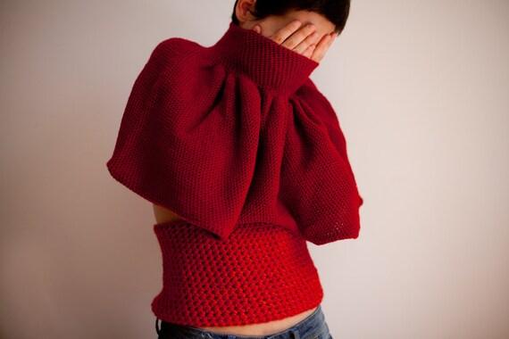 Red blended crochet wool top