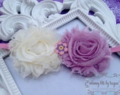 Shabby Flower Headband.  Ivory and Lavender.  Easter. Spring. Custom made any size. More colors available.
