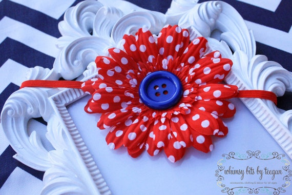 Red and White Polka Dot Flower Headband. Fourth of July. Newborn to Teen.