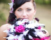 Ostrich Feathers & Rose Flower Bridal Bouquet Crystal Accents Fuchsia Hot Pink Black and White Wedding Custom Feather Colors Large Bouquets