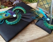 Peacock & Ostrich Feather Wedding Guest Book and Pen Set - Black Satin Crystal BLING Turquoise Purple Teal - Custom Colors Guestbook