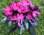 Feathers & Rose Flowers Bridal Bouquet - Fuchsia, Hot Pink and Black Wedding - Zebra Accents